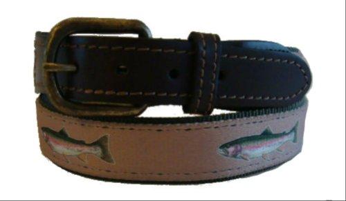 Trout Belt (Croakies Meridian Leather Nylon Fishing Belt - Rainbow Trout)