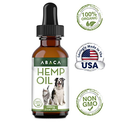 Hemp Oil for Dogs & Cats – 1000mg – Dog Anxiety Relief – 100% Organic Dog Hemp Oil – Dog Calming Aid – Cat Calming – All Natural Hemp Oil – Pain Relief for Dogs – Improves Dog Anxiety & Cat Anxiety