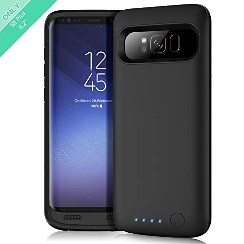 (Feob Battery Case for Galaxy S8 Plus, Upgraded 6500mAh Portable Rechargeable Charger Case Extended Battery Pack for Samsung Galaxy S8 Plus Protective Charging Case for Galaxy S8+(6.2 inch) -Black)