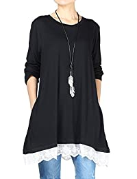 Mordenmiss Women's Tops Lace Tunics Long Sleeve Blouse with Pockets