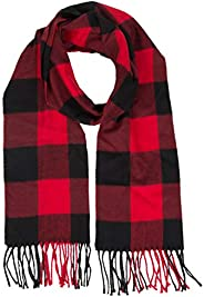 Buffalo Red and Black Plaid Flannel Scarf for Women & Men - Soft, Red, Size