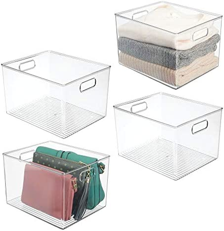mDesign Plastic Home Storage Basket Bin with Handles for Organizing Closets, Shelves and Cabinets in Bedrooms, Bathrooms, Entryways and Hallways – Store Sweaters, Purses – 8″ High, 4 Pack – Clear
