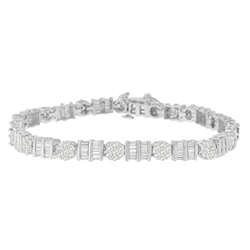 Baguette Diamond Tennis Bracelet - Original Classics 14K White Gold Round and Baguette Cut Diamond Tennis Bracelet (3 2/5 cttw, H-I Color, I1-I2 Clarity)