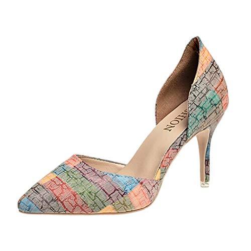 Da Jiangfu Alta Arancione Stampa Scarpe Sottile pantofole Signora Tacco Sandali Infradito Elegante Donna 1awIrxa5q