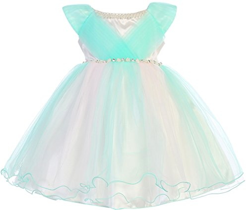 BNY Corner Infant Baby Flower Dress with Tulle Details Mint M JK 2620