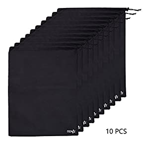 Cosmos ® 10 pcs Non-Woven Black Color Shoe Bag with drawstring for travel/carrying