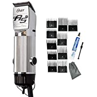 Oster Chrome Turbo A5 2-Speed Platinum Animal Dog Hair Pro Professional Clipper + 10 Piece Universal Comb Set.