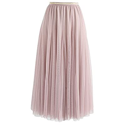 Chicwish Women's Cream/Grey/Pink/Black Layered Mesh Ballet Prom Party Tulle Tutu A-Line Maxi Skirt