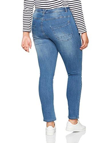para 92 Ulla Curvy Popken Mit Azul Mujer Vaqueros Nähten Bleached Slim Modischen Jeanshose ww18OqA