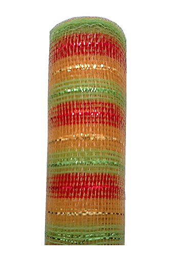 TMI Gifts Designer Netting, 10-Inch by 10-Yard, Glitz Stripe with Red and Gold Metallic ()