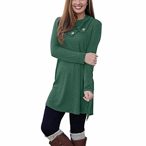 Hot Sale! Clearance! Plus size! Todaies Women Lapel Neck Button Long Sleeve Loose Sides Dress (Green, - Green Female Brown