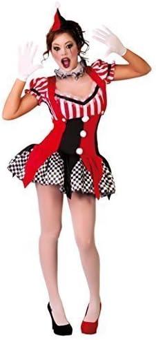 Mujer Sexy Negro Rojo Joker Payaso Disfraz de Halloween UK 10-12 ...