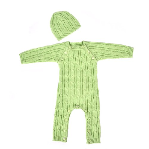 Tadpoles Cable Knit Romper and Hat Set Green 36 Month