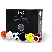 Golf Genius Novelty Gift Set of 6 Novelty Golf Balls *GIFT BOXED* includes 6 long tees