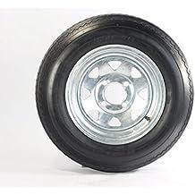 """Two Equipment Utility Trailer Tires & Rims 5.30-12 Galv 530-12 5.30X12 12"""" 4 Lug"""