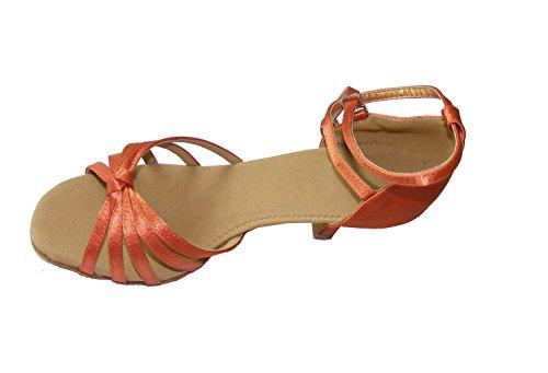 Colorfulworldstore Zapatos de baile latino con cinco correas acabadas en nudo en color rojo/bronce/carne/beige/con estampado de leopardo Beige