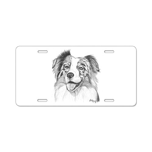 CafePress Australian Shepherd Aluminum License Plate, Front License Plate, Vanity Tag