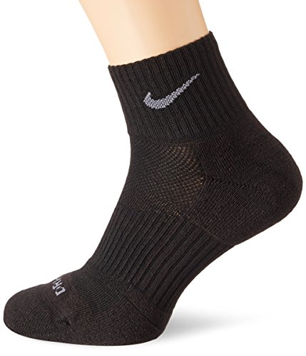 Nike Dri-Fit Half Cushion Quarter Socks (3 Pack) Black SX4835-001 Size Large (8-12)