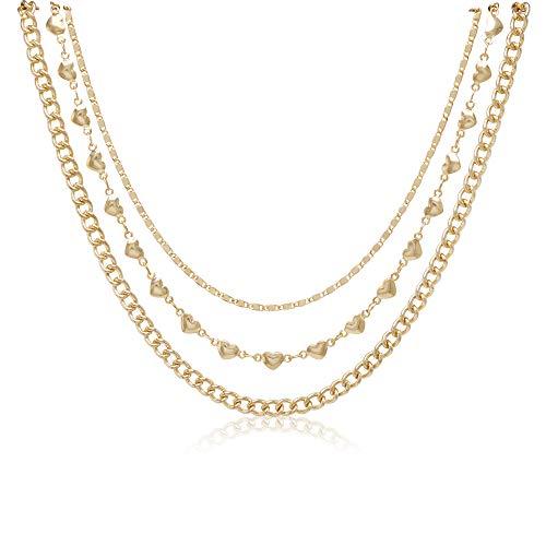 So Pretty Dainty Gold Choker Necklace Layered Heart Charm Chain Choker Set for Women Girls ()