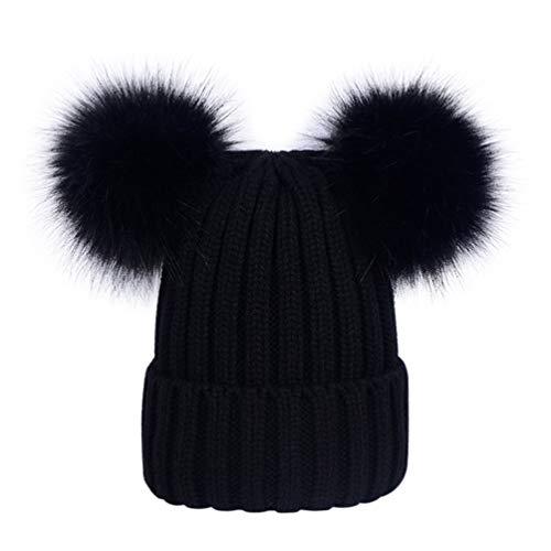 Lau s Berretti invernali ragazza cappello doppio pon pon di pelliccia  rimovibile bianco  Amazon.it  Abbigliamento 8d41425fa835