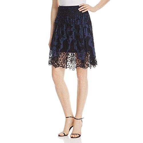 Elie Tahari Womens Fringe Lace A-Line Skirt Navy 6