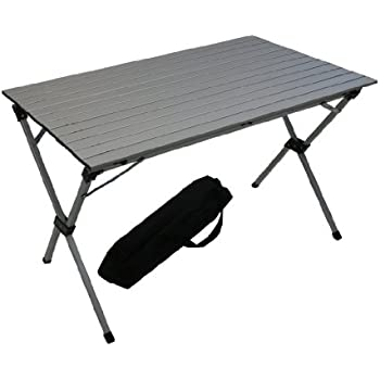 Table in a bag lt4327ga large tall aluminum portable table with carrying bag grey - Low portable picnic table in a bag ...