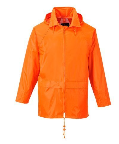 Portwest Men's Classic Rain Jacket M (Chest 40-41in) - (Orange Raincoat)