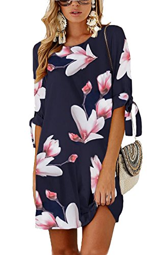 PRETTYGARDEN Women's Tie Sleeve Floral Print Swing Fit Crew Neck Casual Chiffon Plus Size Tunic T-Shirt Mini Dress (0804_Navy, X-Large) ()