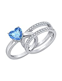 Lovely 3.00 ct.tw Heart Shaped Created Blue Topaz with White Sapphire 14K White Gold Plated Enhancer Wedding Set