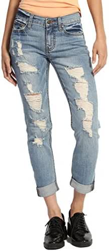 TheMogan Women's Distressed Ripped Light Blue Denim Boyfriend Straight Leg Jeans