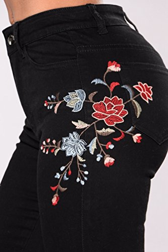 Denim Noir Dchir Pantalon Broderie Fleurs Taille Haute Skinny Pantalon Long Zhiyuanan Femme Casual Jeans Stretch Crayon XqZIIt