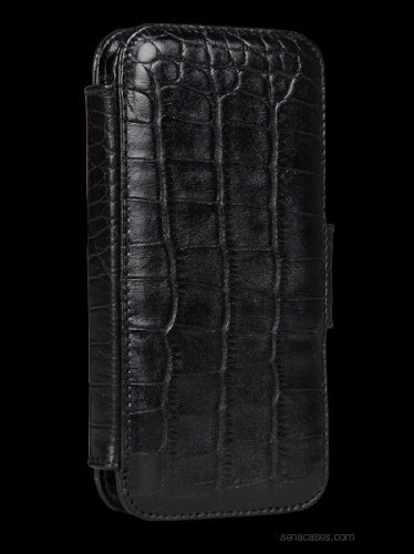 (Sena Cases WalletBook Case for iPhone 5 - Retail Packaging - Croco Black )