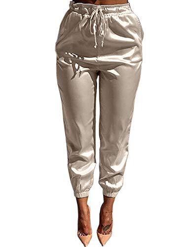 VWIWV Women Casual Satin High Waist Slim Drawstring Leggings Fit Jogger Lounge Pencil Pant Yoga, Large, Beige