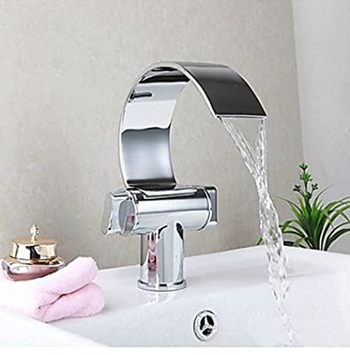 YC Double handle waterfall bathroom vanity sink faucet giant curved chrome universal mixing valve light durable rust never tap