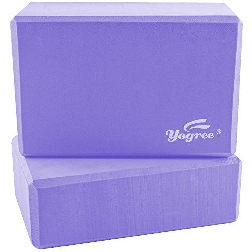 yogree High Density EVA Foam Brick Yoga Block, (9 x 6 x 4) Inches – Lavender, 2 Piece
