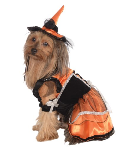 Rubie's Pet Costume, Medium, Orange Witch Dress and Hat]()