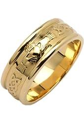 Mens Wide Round Claddagh Wedding Ring 14k Yellow Gold Irish Made