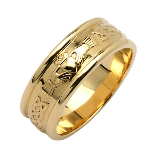 Gold Claddagh Ring 14K Mens Wide Made in Ireland Size 13
