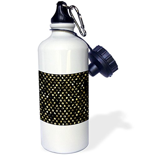 3dRose wb_219464_1 - Botella de agua con efecto de oro sintético (fondo negro, no metálico, para deportes)