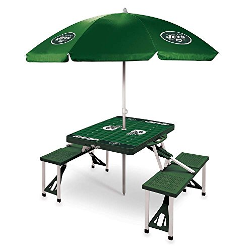 NFL New York Jets Picnic Table Sport with Umbrella Digital Print, One Size, Green by PICNIC TIME