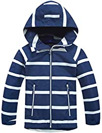 e9f2d9046 Boys Girls Windbreaker Fleece Lined Light Waterproof Jacket with Hood