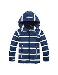 Lau's Boys Girls Windbreaker Fleece Lined Light Waterproof Jacket with Hood