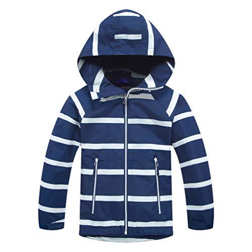TLAENSON Boys Girls Windbreaker Fleece Lined Light Waterproof Jacket Dark Blue 9-10T