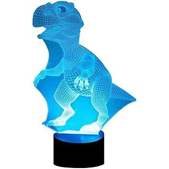 DB.WOR LED Dinosaur Night Light - Colorful LED Lamp 7 Color Change Optical Illusion Touch Table Desk Lamp Birthday Gift for Men Boyfirend Boys Kids Baby