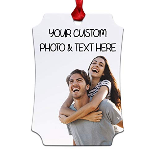 Style In Print Custom Holiday Christmas Ornament Personalized Photo & Text Aluminum Berlin Portrait Shape (Personalized Ornament)