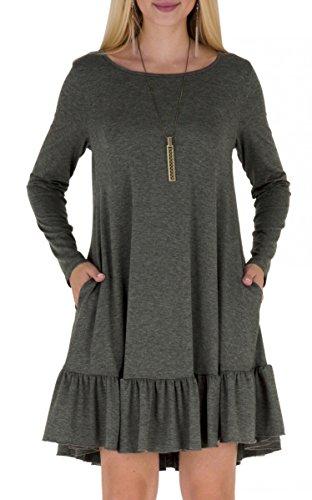 Alaroo Basic Sold Tunic Shirt Pocket Ruffle Deep Hem Dress for Women Dark Grey L ()