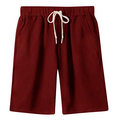 - XinDao Women's Plus Size Elastic Waist Soft Jersey Knit Bermuda Shorts with Drawstring Wine Red