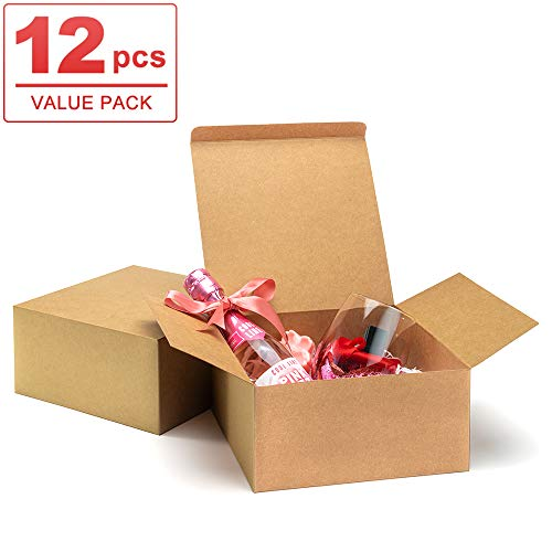 """ValBox Premium Gift Boxes 12 Pack 8 x 8 x 4"""" Brown Paper Gift Boxes with Lids for Gifts, Crafting Cupcake Boxes, Easy Assemble Boxes"""
