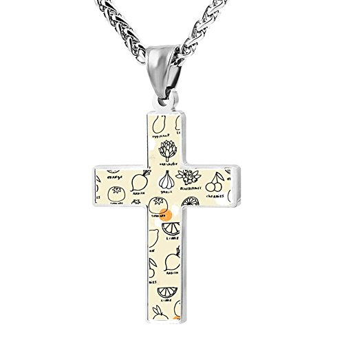Price comparison product image Simple Small Zinc Alloy Religious Cross Necklace For Men Women, Print Pen And Draw Fruit