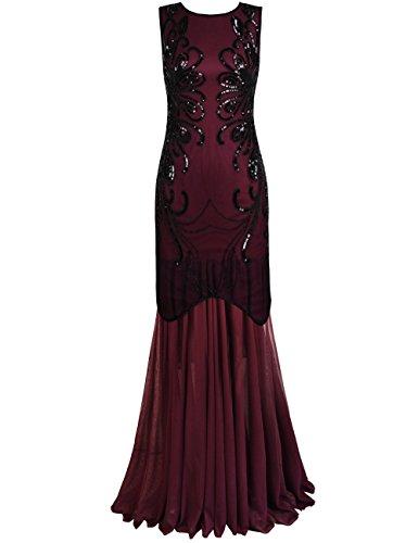PrettyGuide Women 1920s Gown Sequin Long Flapper Evening Formal Dress XL Burgundy (Sequin 1920s Dress)